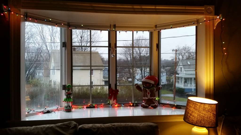 Here is my blow-up gingerbread man and 6-ft lights on my window sill. I've got nothing to be ashamed of!